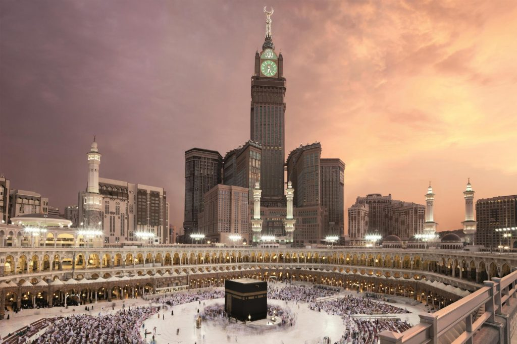 Kaaba with Abraj Al Bait clock tower in the background